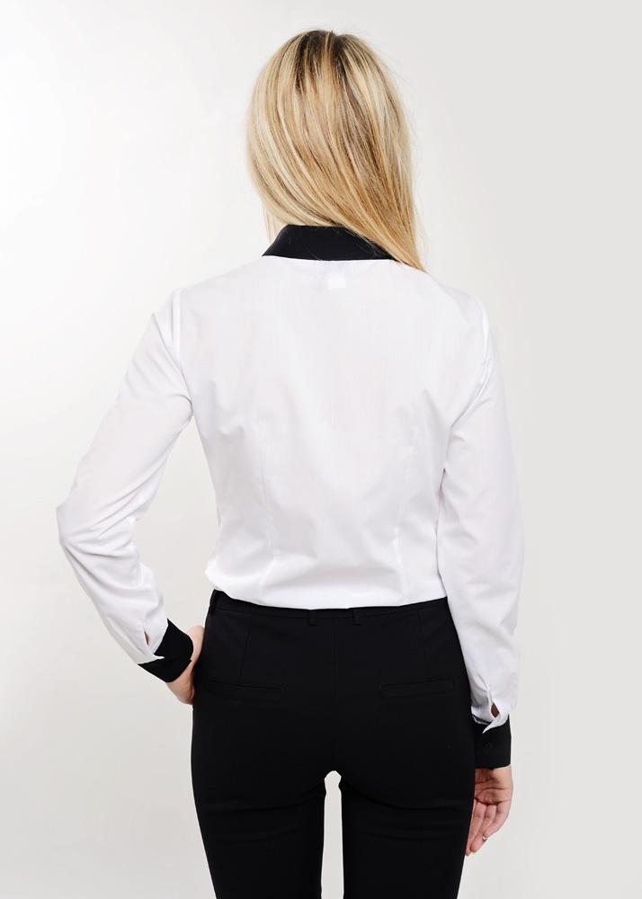 odziez-hotelowa-elegancka-recepcja-bluzka-damska-koszula biała z wykończeniem w kolorze czarnym