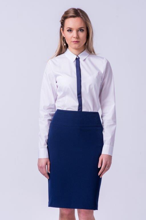 odziez-hotelowa-praca-recepcja-elegancka-klasyczna-koszula-damska-granatowy-pasek-gabinet-lekarski-klinika-szycie-krawiec-zakiet