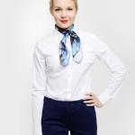 elegancka-biurowa-bluzka-damska-koszula biała dł.rękaw i rękawem3/4-apaszka